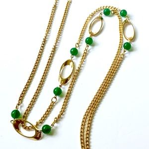 Vintage Gold Chain Green Stone Necklace